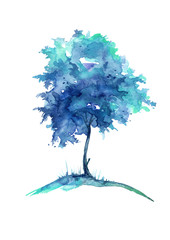 Watercolor blue tree isolated on white background. Vintage drawing.
