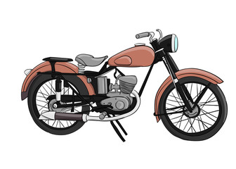 A pale pink motorcycle stands on a white background eps 10 illustration