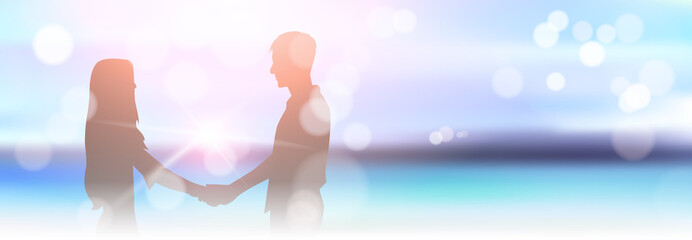 Silhouette Couple Holding Hands On Beautiful Blurred Seaside Beach Bokeh Background Horizontal Banner Vector Illustration