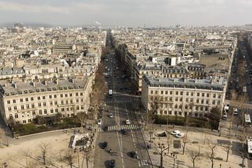 Vista aérea de París desde el Arco del Triunfo.