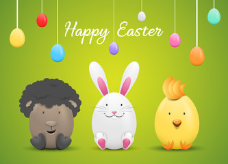 Happy easter card with easter eggs and easter bunny