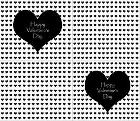 Valentines Day, black hearts on a white background.