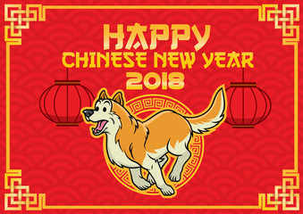 chinese new year desig with running dog