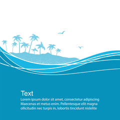 Sea waves and tropical island.Blue vector background