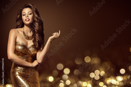 Fashion Model Gold Dress Elegant Young Woman In Golden Y Gown Luxury Lady Beauty