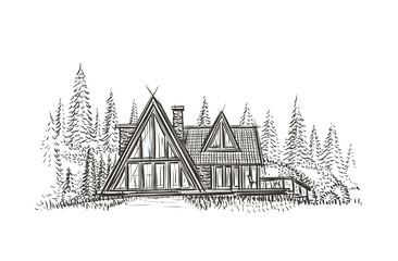 Modern cottage house hand drawn illustration.Vector.