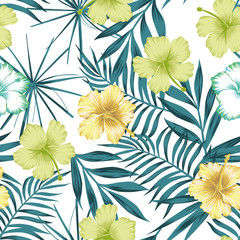 Lime green hibiscus on the blue leaves seamless background