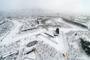 View of Goryokaku forte from Goryokaku tower in Winter. Hakodate, Hokkaido, Japan