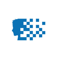 Vector sign digital generation, head and pixel in blue