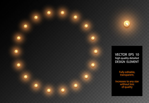 Vector realistic light bulb translucent isolated design element. Glow lamps circle shape frame on transparent background. Illuminated round banner. Glowing lights billboard for advertising.