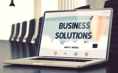 Business Solutions Concept on Laptop Screen. 3d