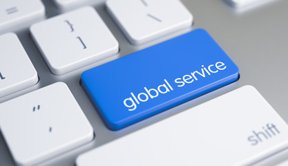 Global Service - Message on the Blue Keyboard Button. 3D.