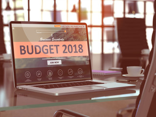 Laptop Screen with Budget 2018 Concept. 3d