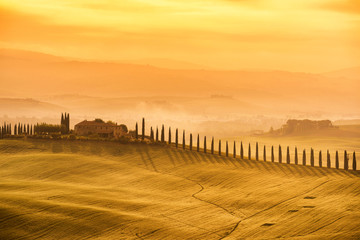 Tuscany - Landscape sunrise view, hills farm and meadow, Toscana - Italy