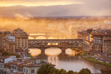 Ponte Vecchio bridge in Florence, Italy. Europe