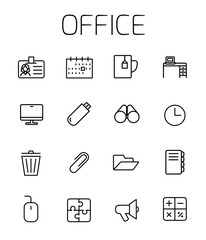 Office related vector icon set.