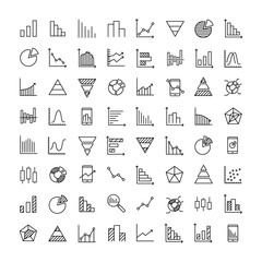 Simple set of diagram related outline icons.