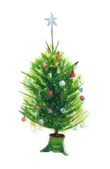 Watercolor hand drawn sketch illustration of Christmas tree with decorations on a stand isolated on white