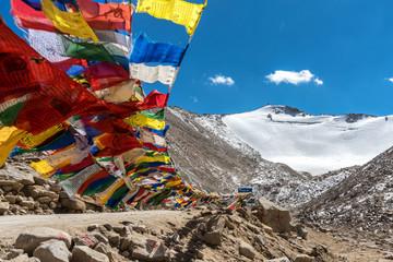Prayer flags at Khardungla Pass, the highest motorable pass in the world, ladakh, Jammu and Kashmir, India
