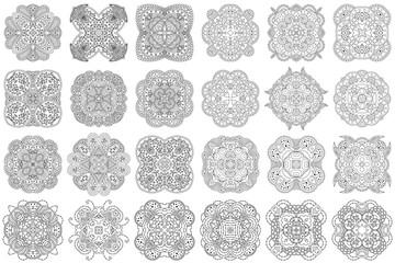 Set of black and white mandalas.