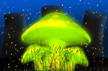 Fluorescent green fly agaric