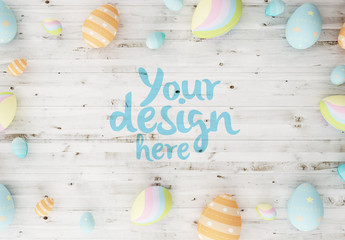 Easter Eggs on Wooden Background Mockup 1
