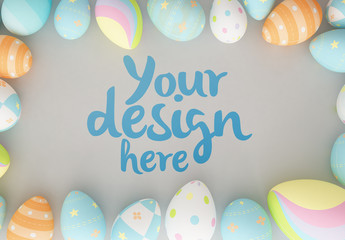 Easter Eggs on Gray Background Mockup 1