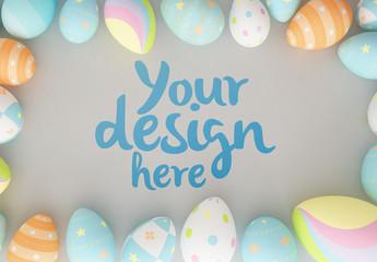 Easter Eggs on Gray Background Mockup 1