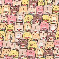 Cute pets doodles seamless pattern