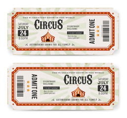 Circus Tickets Front And Back Side