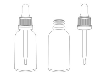 Bottle with a pipette, vector outline drawing, contour picture, coloring, black and white illustration. Transparent empty vial with pipette inside and pipette separately. Isolated on white background