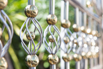 decoration fence from alloy in gold and silver colour