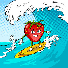 Strawberry surf sea pop art vector illustration