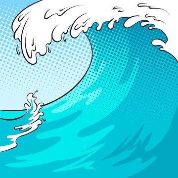Water wave background pop art vector illustration