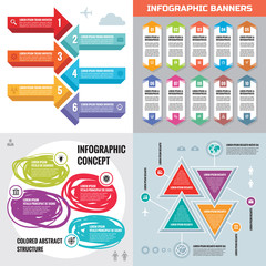 Infographic elements template business concept banners for presentation, brochure, website and other design project. Abstract infograph creative layout vector set.