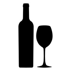 Bottle of wine and wineglass vector icon, logo, sign, emblem, silhouette isolated on white background