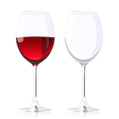 Set glass goblets, wineglass with wine and empty wineglass, vector realistic drawing, isolated on white background