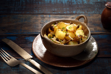 view of nice fresh hot stewed potato with mushroom on  color background