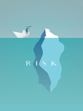 Business risk vector concept with businessman in paper boat sailing close to iceberg. Symbol of danger, challenge, courage.
