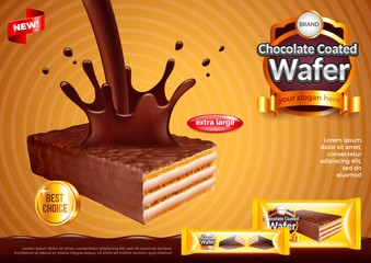Wafer with pouring chocolate ads vector background