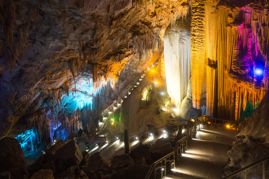 Furong Cave is a large limestone cave in Wulong,Chongqing,China. Beautiful colorful and illuminated cave full with LimeStone. Flowstones, stalactites and stalagmites lighted in different vivid colours