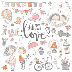 Cute fall in love collection. Nice romantic isolated elements. F