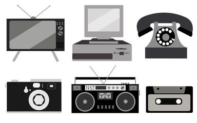 black and white set of retro electronics, technology. Old, vintage, retro, hipster, antique kinescope TV, computer with floppy, disk phone, camera, cassette audio tape recorder, audio cassette.