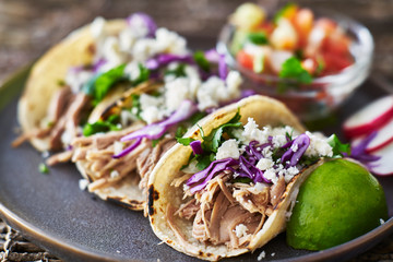 Wall Mural - Street tacos - with carnitas, red cabbage and queso fresco cheese