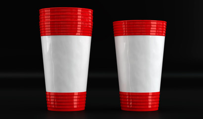 plastic disposable cup mockup. Front view.