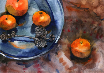 Watercolor still life with tangerines. Oriental background, blue plate and cones. Hand drawn