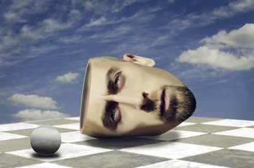 Surreal portrait of bearded man. Surreal concept