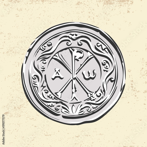 Ancient Christian Symbol Of Jesus Christ Alpha And Omega Stock