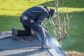 Poster Olive Roofer worker gas burner for maintenance