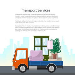 Orange Freight Truck is Transporting Furniture on the Background of the City, Transport Services and Logistics, Poster Flyer Brochure Design, Vector Illustration